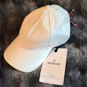 NWT Moncler White Baseball Cap Lace Back One Size